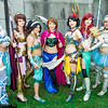 Elsa, Megara, Princess Jasmine, Anna, Snow White, Ariel, and Cinderella