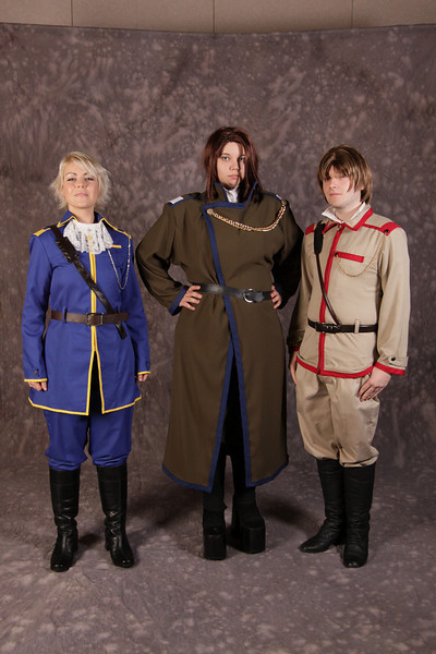 Melanie as Wolfram, David as Conrad, and Amanda as Gwendel of Kyou Kara Maou! at the 2009 Anime Weekend Costume Contest
