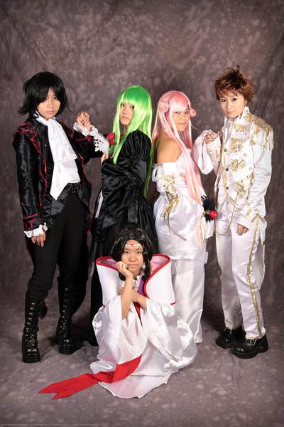 Lelouch View Britannia, C.C., Suzaku Kururugi, Euphemia, and Kauya Sumeragi of Code Geass Costume Contestants at Anime Weekend Atlanta 14