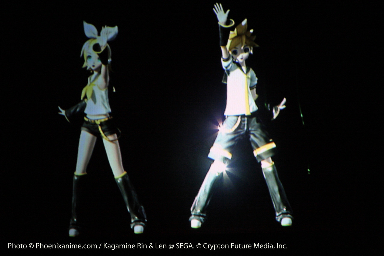 After first playing a game of hide and seek with the audience, Rin and Len appear with Butterfly on the Right Shoulder