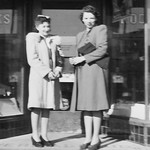 1941c Lois & Verla Wilkins in Front of Vernal Drug