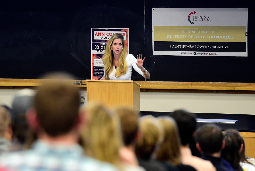 . Ann Coulter speaks during an event hosted by a CU Turning Point chapter on Thursday at the Cristol Chemistry and Biochemistry building in Boulder. For more photos of the event go to dailycamera.com Jeremy Papasso/ Staff Photographer 03/21/2018