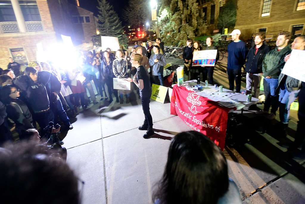 . Protesters gather outside of the University Memorial Center on the University of Colorado campus as Ann Coulter speaks during an event hosted by a CU Turning Point chapter on Thursday at the Cristol Chemistry and Biochemistry building in Boulder. For more photos of the event go to dailycamera.com Jeremy Papasso/ Staff Photographer 03/21/2018