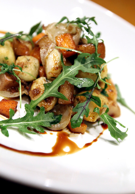 . Herbed gnocchi with butternut squash, roasted pears, chestnuts, cipollini and brown butter is one of chef Mark Denham\'s seasonal offerings at Soif. (Shmuel Thaler -- Santa Cruz Sentinel)