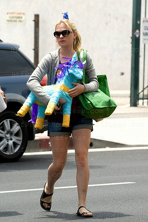 Anna Paquin buys a Pinata and other supplies for Lilac Moyer's birthday in Los Angeles,California.