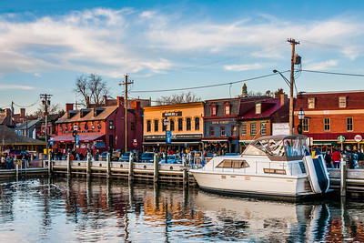 Boats and buildings along the waterfront in Annapolis, Maryland.