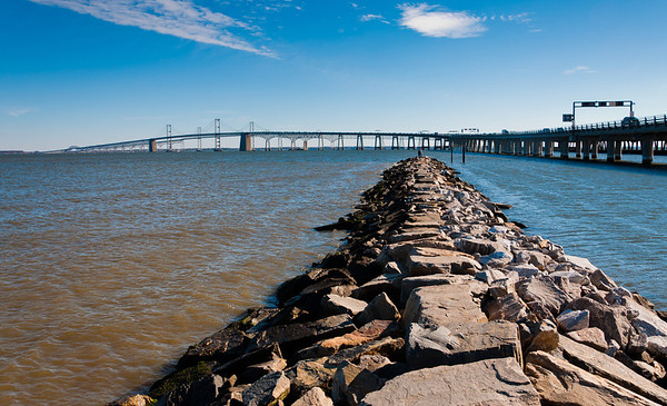 Chesapeake Bay Bridge and Jetty from Sandy Point State Park, Maryland