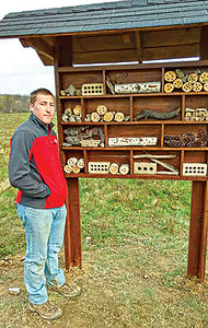 Pollinator hotel Tyler created at the Bath Nature Preserve with help from other Scouts and adults 4-22-17