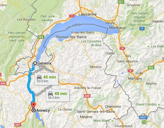 Drive from Geneva to Annecy.