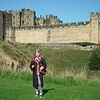 Freija at Alnwick Castle riding a broomstick