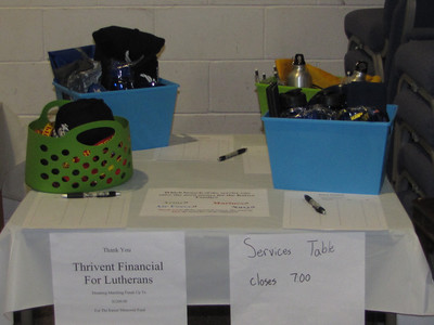 Baskets for each of the four services-- Army, Navy, Air Forcem and Marines