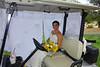 Annie in golf cart waiting for me to walk her down the aisle
