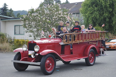 A classic Blue Lake Fire Department engine took part in the Annie and Mary day parade in Blue Lake on Sunday. (Hunter Cresswell - The Times-Standard)