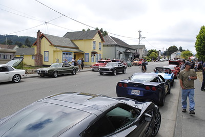 Classic and modern sports cars alike lined Railroad Avenue on Sunday morning for the Nessler Car Show and Annie and Mary Day in Blue Lake. (Hunter Cresswell - The Times-Standard)