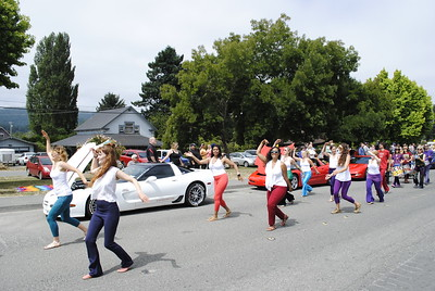 Samba dancers swayed down Railroad Avenue for the Annie and Mary Day parade in Blue Lake on Sunday. (Hunter Cresswell - The Times-Standard)