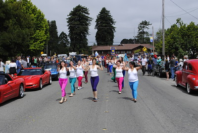 Samba dancers boogied down Railroad Avenue during the Annie and Mary Day parade in Blue Lake on Sunday. (Hunter Cresswell - The Times-Standard)
