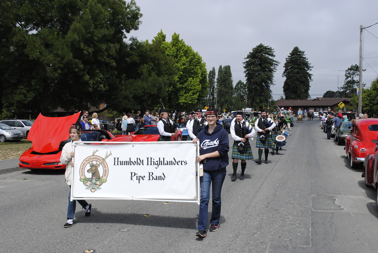 The Humboldt Highlanders Pipe Band added a Scottish flare to the Annie and Mary Day parade in Blue Lake on Sunday. (Hunter Cresswell - The Times-Standard)