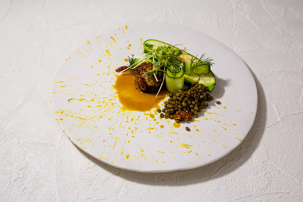 scallop | dill | mustard | lentils | coconut curry | cucumber