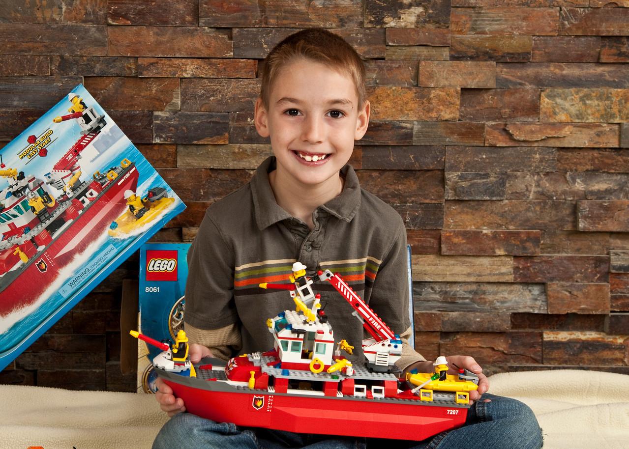 Brayton with his Lego ship.
