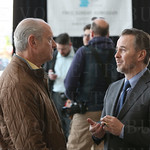 Ron Murphy and Speed Art Museum CEO Ghislain d\'Humiéres talked prior to the start of the announcement.