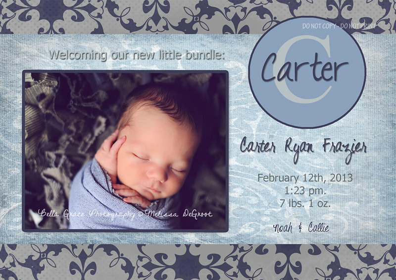 Carter: 5x7 Single sided card. A back side can be created for this card as well.