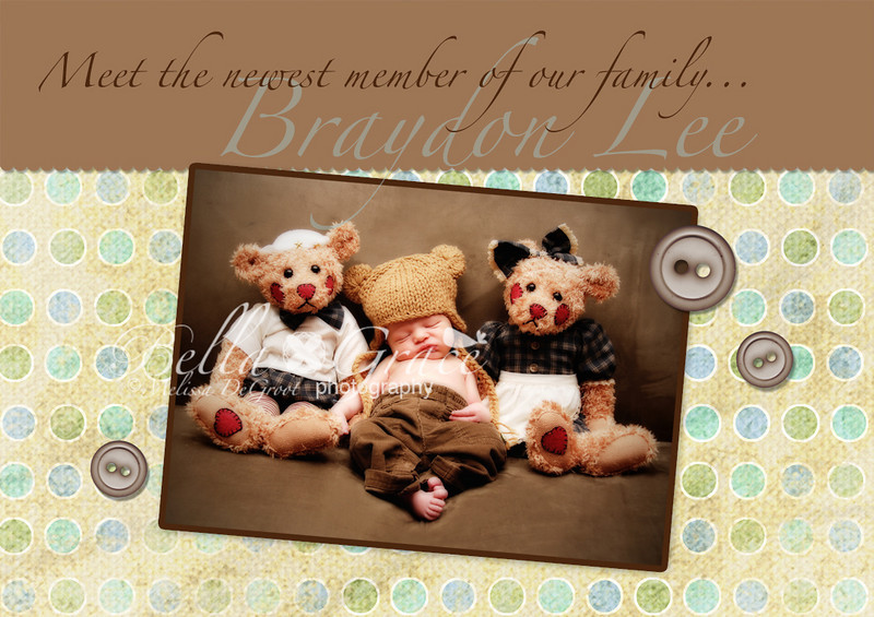 Braydon: A folded 5x7 card. This image shows the front of the card (folded closed). Braydon is only available in a 5x7 at this time. The inside will be the same as either Caden Creme or Caden Blue.