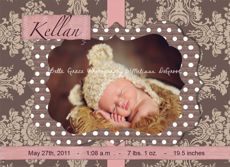 Kellan 5x7. Can be printed as a single sided or double sided, with a custom back side created.