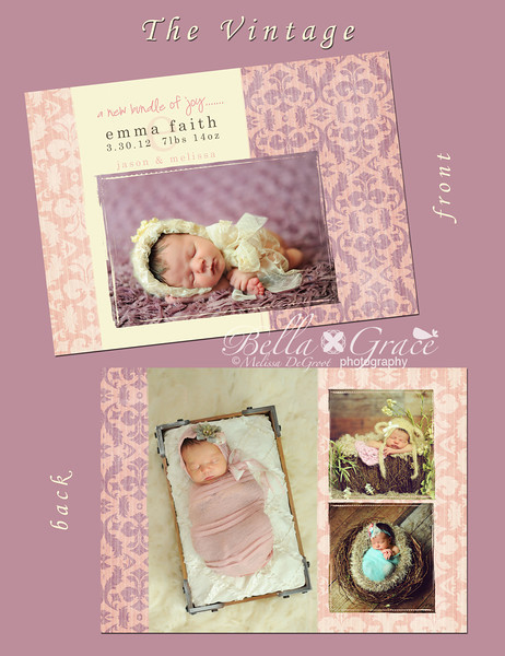 Vintage Emma: 5x7 double sided card (showing front and back of previous image).