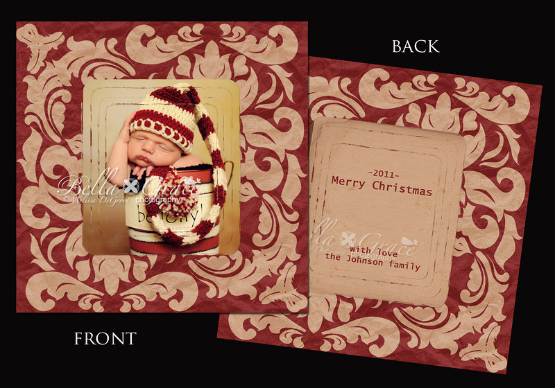 Rusty Red 5x5 (front and back shown). (This card is also available as a luxe scalloped circular card, found in the Luxe Christmas Cards gallery).