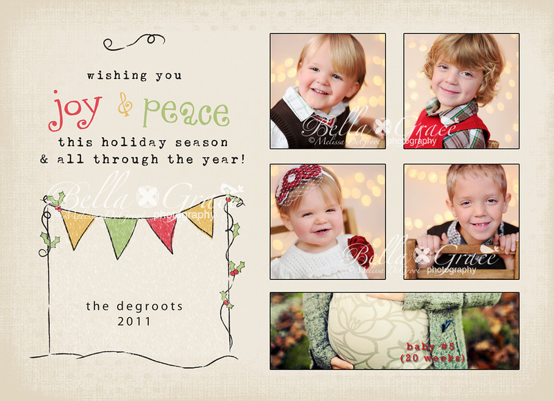 Holiday Bunting 5x7 (front). This card is available with 5 images as shown, or with one vertical image in place of the 5 images (see image #3 in this gallery).