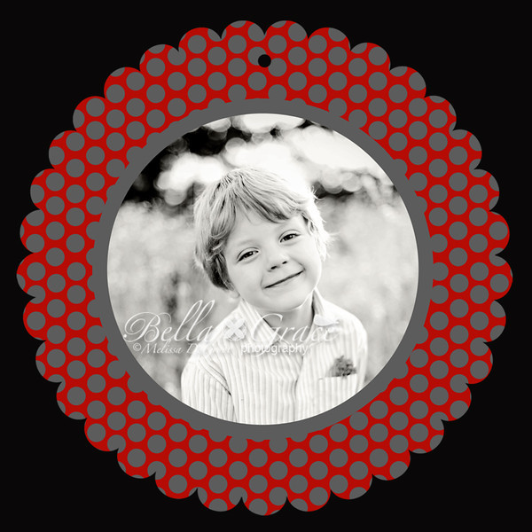 5x5 Red Polka Dot Luxe Scalloped Circle (front of card).