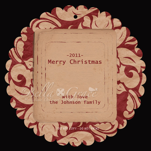 5x5 Rusty Red Luxe Scalloped Circle (front of card).