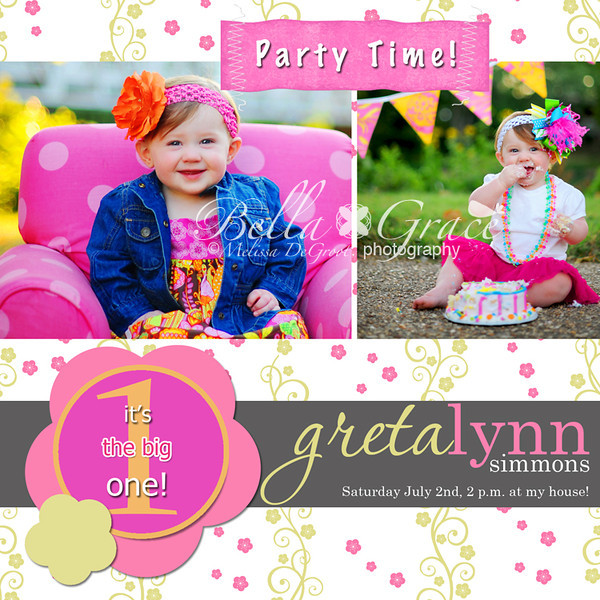 Greta: Double sided 5x5 invitation (front side)