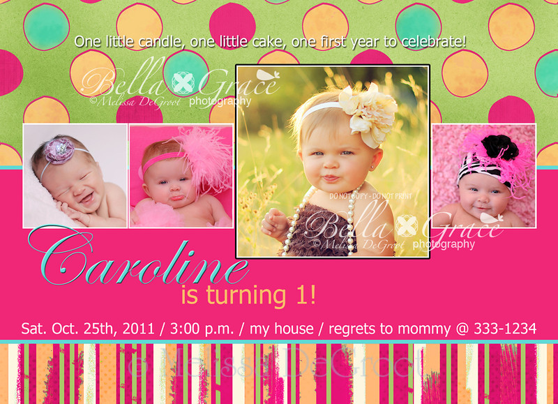 Caroline: Double sided 5x7 invitation. FRONT SIDE.