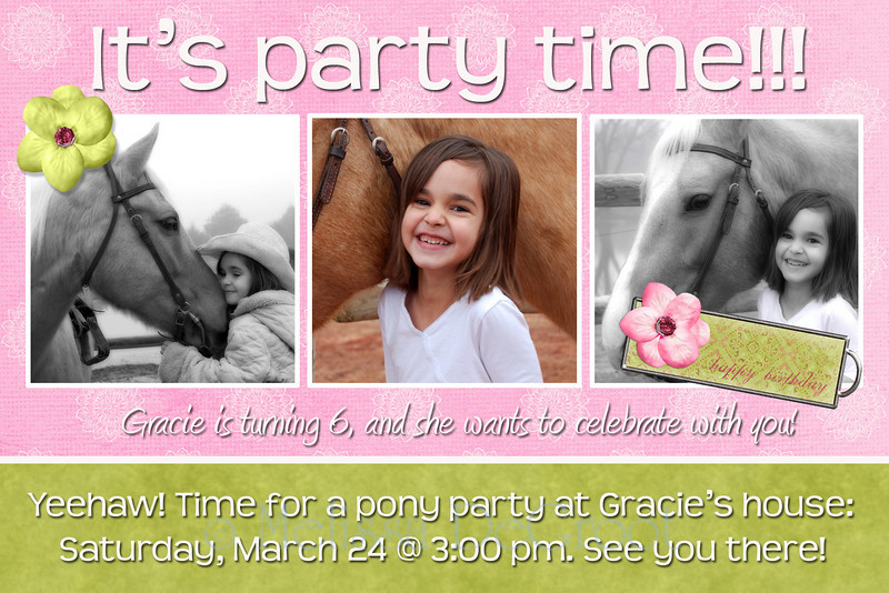 Gracie (light pink): Single side 4x6 invitation.