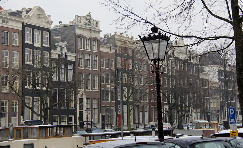 Typical buildings along the canals.  There are 165 canals in Amsterdam.