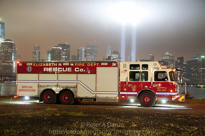Elizabeth NJ Fire Dept. Rescue 1, 2011 Crimson/Spartan tandem axle heavy rescue. 09-11-11