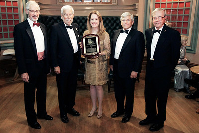NMHS_2019_027 Award Recipients Matt Brooks & Pam Rorke Levy with MC Richard du Moulin, Dinner Chairman Christopher Culver and Honorary Chairman George W  Carmany III