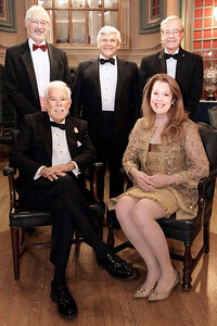 NMHS_2019_017 Award Recipients Matt Brooks & Pam Rorke Levy with MC Richard du Moulin, Dinner Chairman Christopher Culver and Honorary Chairman George W  Carmany III