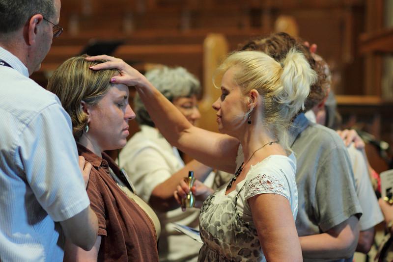 Donna Zeigler, Harmony Zelienople, praying.