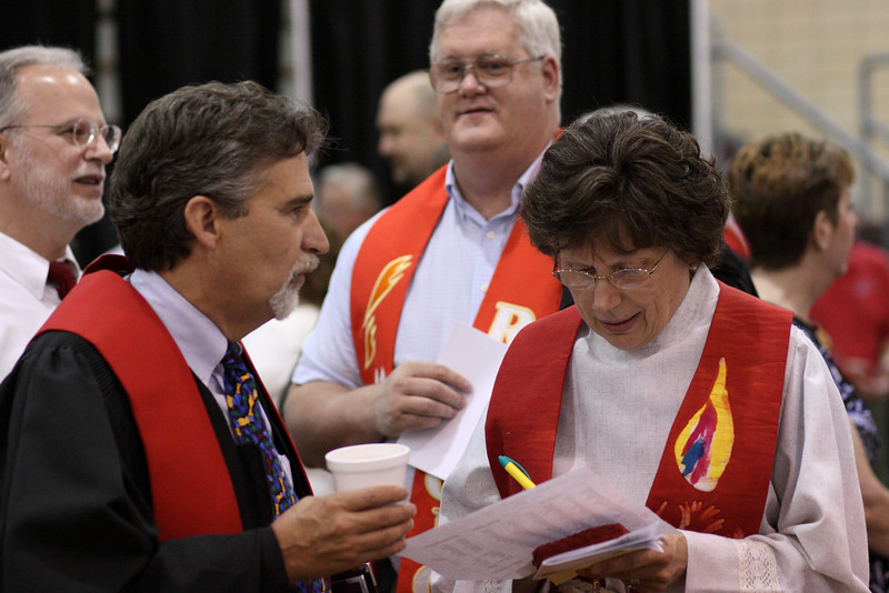 JOhn Seth and Pat Harbison prior to the Ordination Service.