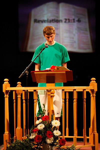 Ben Todd reading the Scripture lesson at opening worship, June 10, 2010.