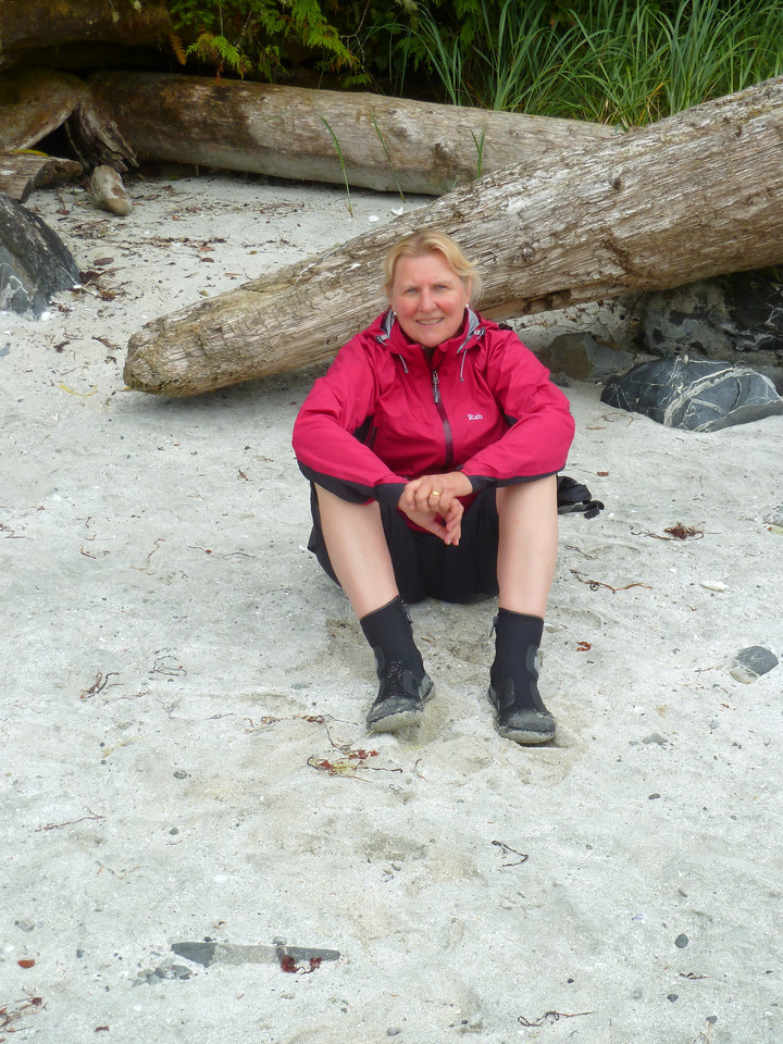Annette on a beach in the Broken Islands!