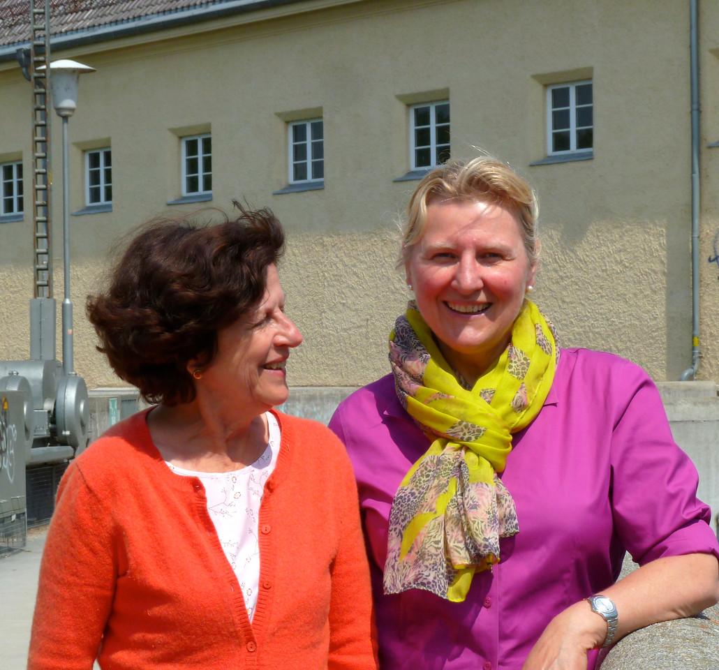 Annette and school time friend Ilona in the Englische Garten, Munich.