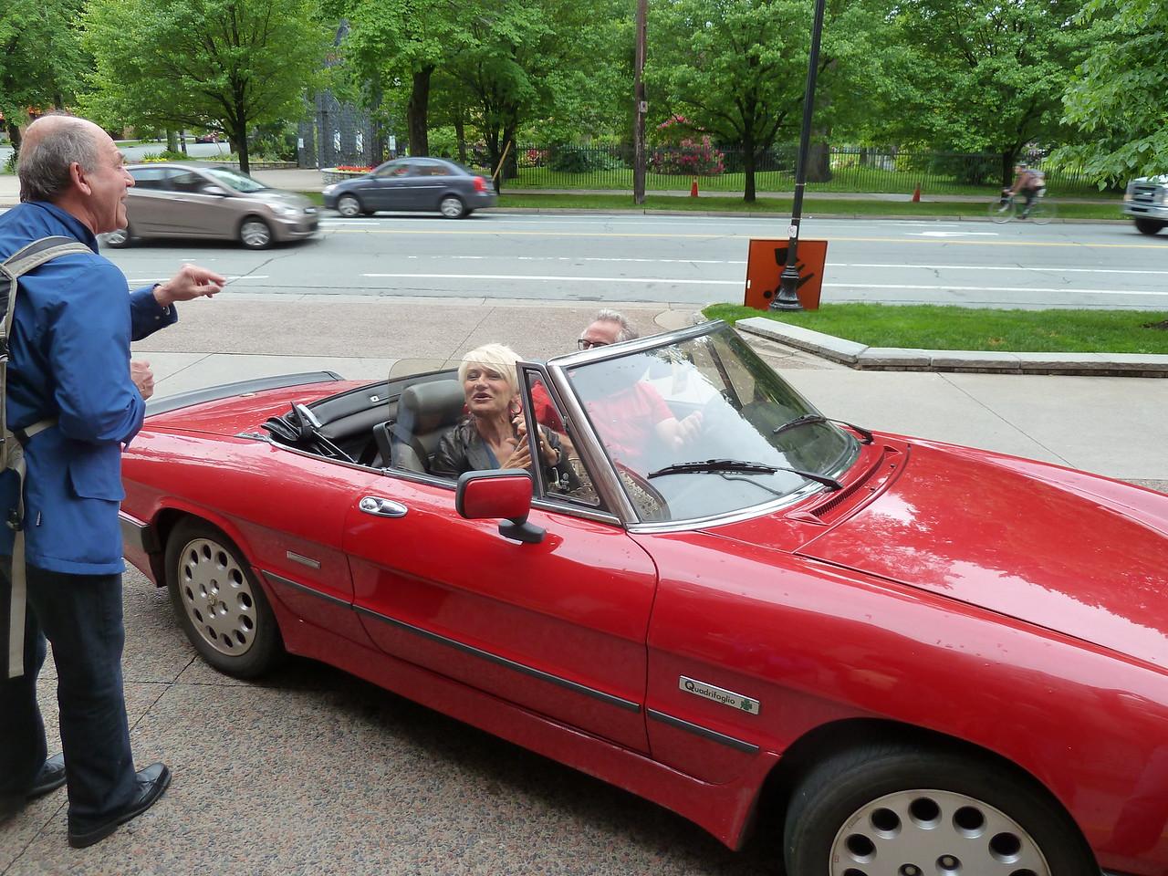 Josh and Natalia head off in the Alfa