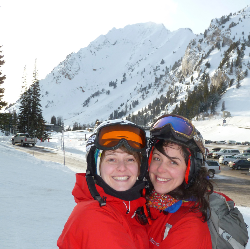 Sisters Miriam and Bethany up at Alta with Mt. Superior in the back