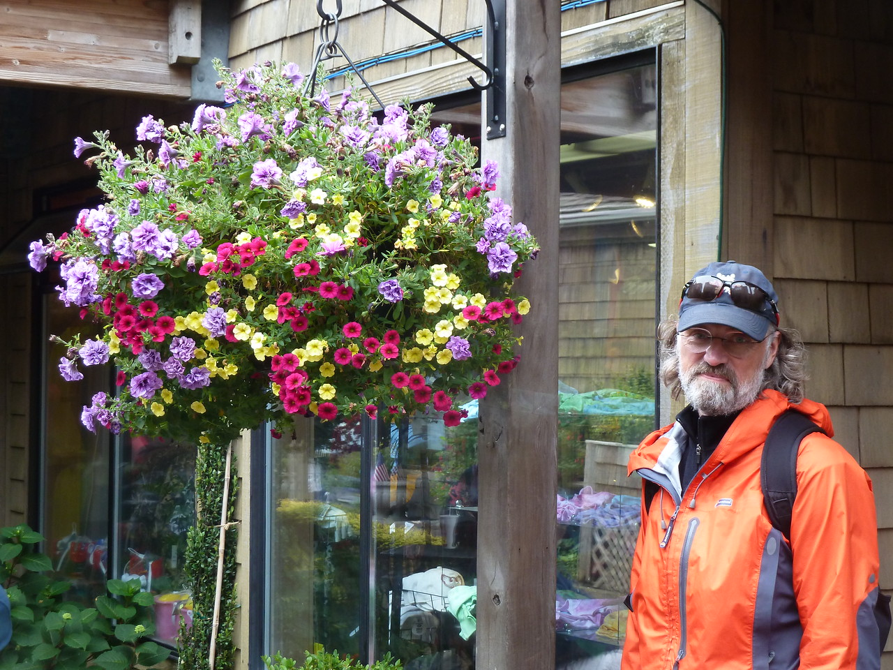 Amazing hanging baskets in Cannon Beach, Oregon.