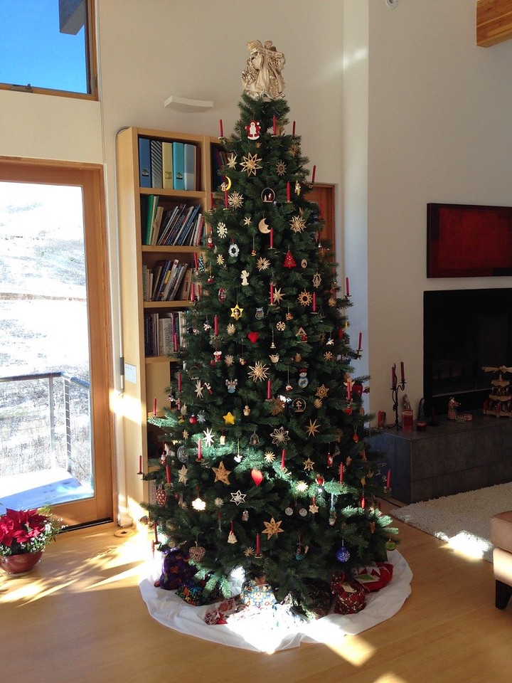 Our 2014 Xmas tree - yes, it has both elelctric and real wax candles!