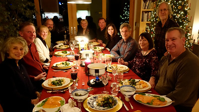 The traditional M M 2014 Christmas Eve Cheese Fondue with our Salt Lake friends and old friends Claire and Peter (l to r): Claire, Graeme, Beth, Rob, Annette, John, Elif, Mike, Ida, Peter, Jaques.