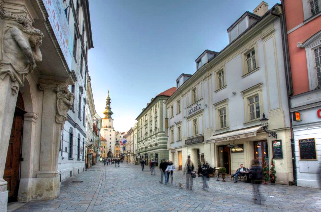 The historic center of Bratislava.